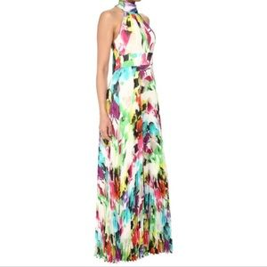 Eliza J Floral Pleated Halter Maxi Dress